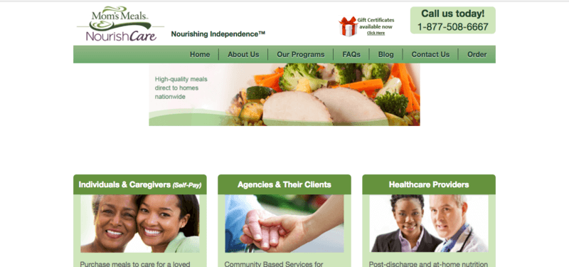 mom's meals website screenshot