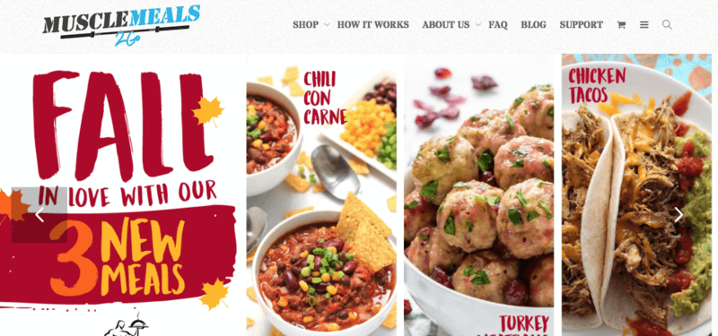 Muscle Meals 2 Go website screenshot showing chili con carne, meatballs, and chicken tacos