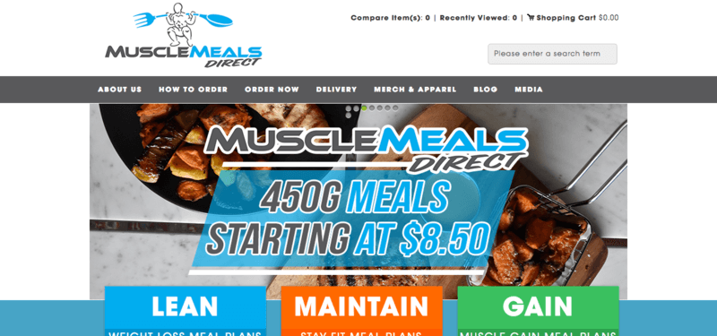 Muscle Meals Direct website screenshot showing two meals that are heavy in meat