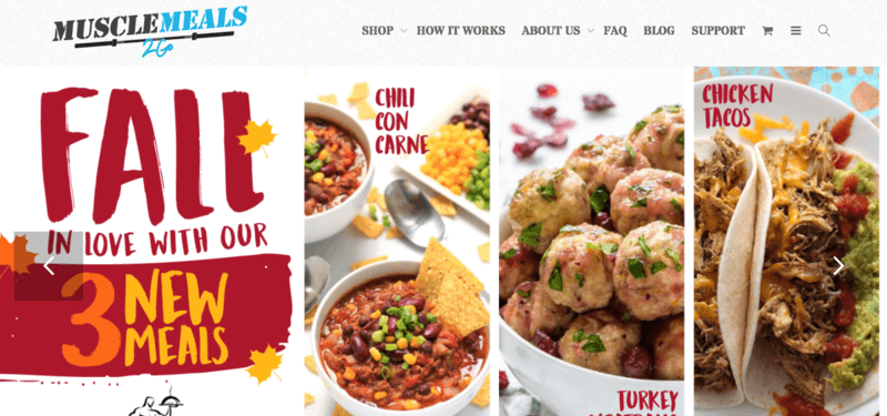Muscle Meals 2 Go website screenshot showing Chili Con Carne, Turkey Meatballs and Chicken Tacos