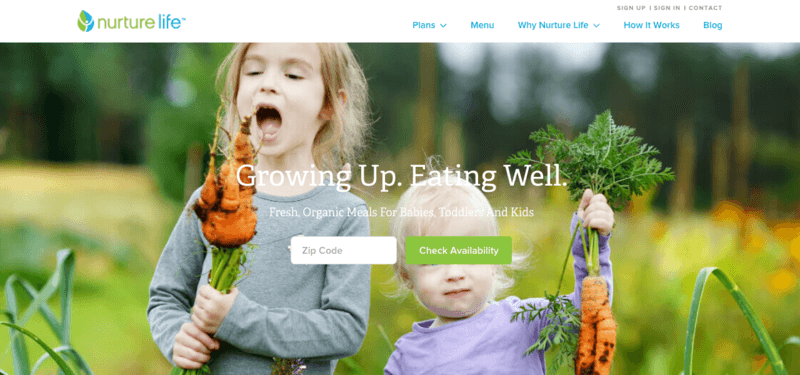 Nurture Life website screenshot showing a child and a toddler with fresh carrots