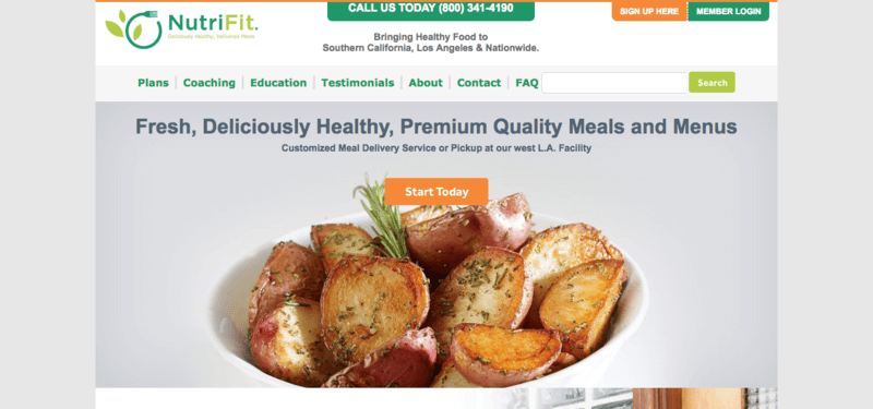 NutriFit website screenshot showing a bowl of roasted potatoes