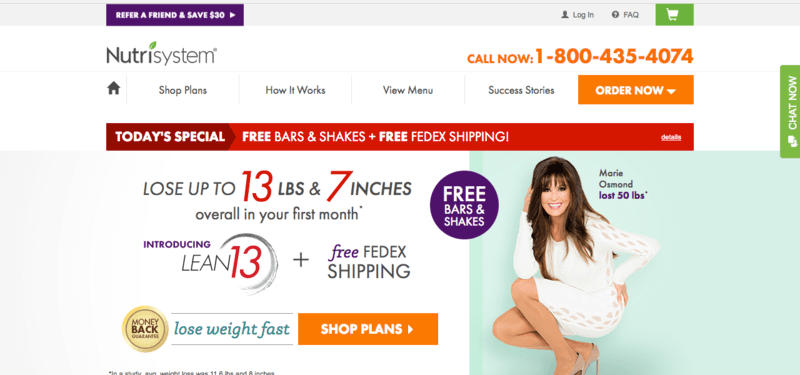 Nutrisystem website screenshot showing the claim 'Lose up to 13 lbs and 7 inches' along with the image of a woman
