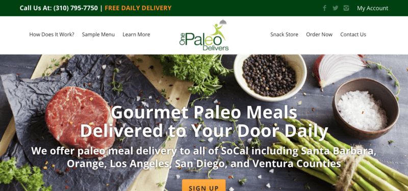 One Paleo Delivers website screenshot showin roast beef, asparagus, salt, pepper and various other ingredients.