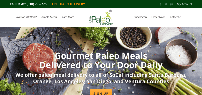 One Paleo Delivers website screenshot showing steak, pepper, salt and various other ingredients.