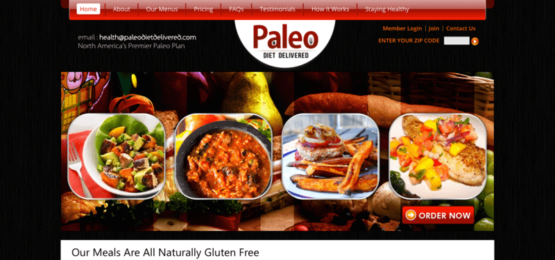 Paleo Diet Delivered website showing four meat-based meals