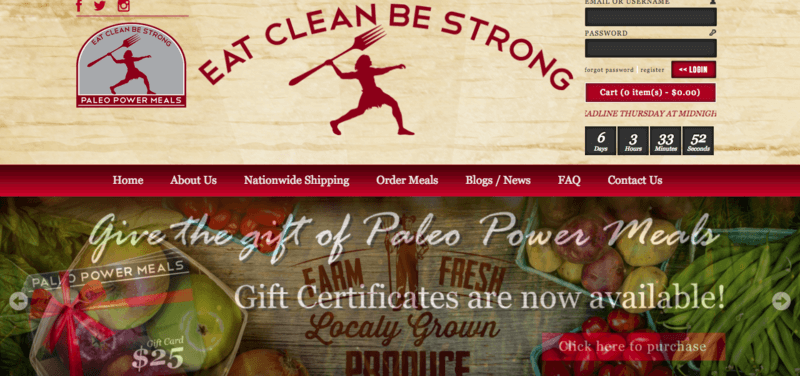 "Paleo Power Meals Website Screenshot showing various fruits and vegetables, along with the tag line ""Eat Clean Be Strong"""