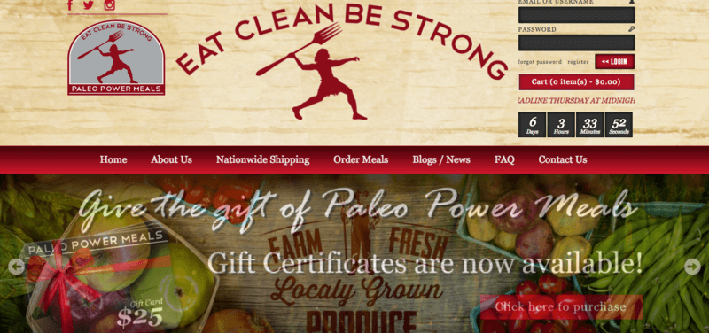 Paleo Power Meals website screenshot showing the 'Eat Clean Be Strong' tagline, along with details about the gift certificate and images of produce