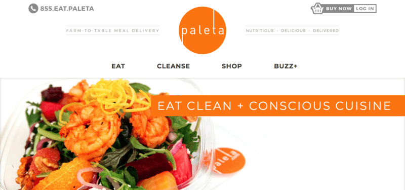 Paleta website screenshot showing a salad with shrimp, oranges and walnuts