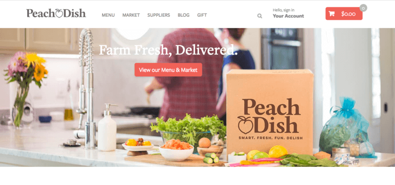 Peach Dish website screenshot showing the box on a counter along with various fresh produce