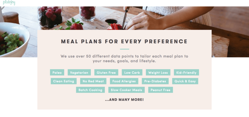 plate joy website screenshot highlighting the different types of meal plans on offer, along with a woman cutting fruit on a cutting board
