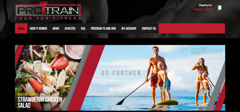 ProTrain website screenshot showing a Strawberry Chicken Salad and a family on the ocean