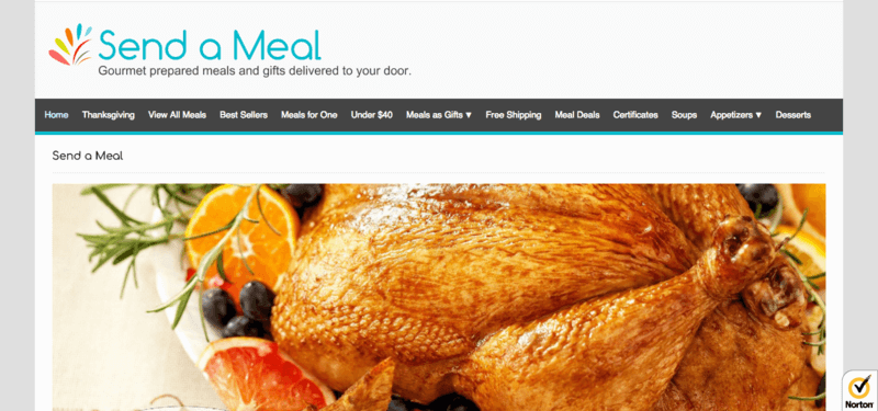 Send a Meal website screenshot showing a roast chicken