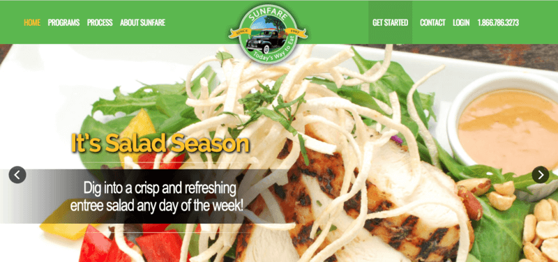 Sunfare website screenshot showing a chicken salad