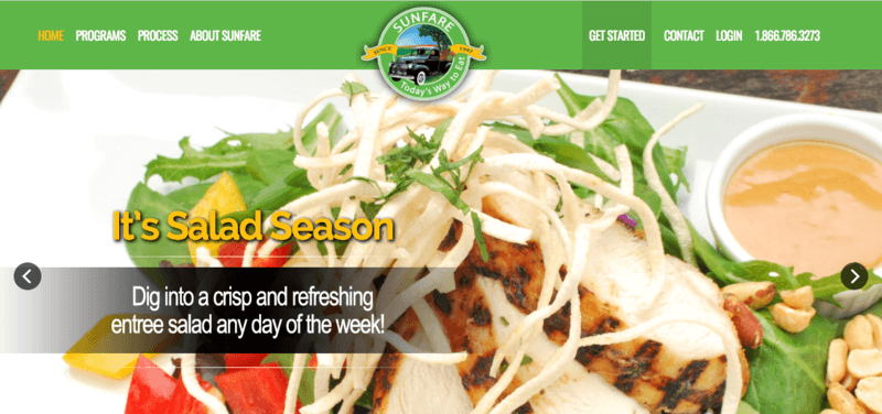 Screenshot from the Sunfare website, showing chicken on lettuce with various healthy ingredients