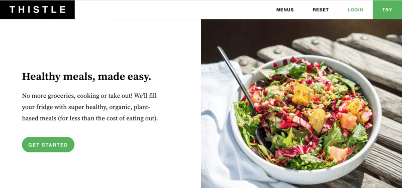 Thistle website screenshot showing a powerbowl with red cabbage, kale and pomegranate seeds
