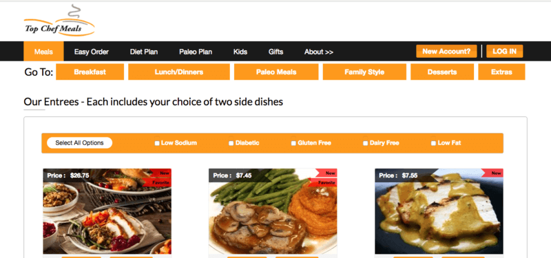 Top Chef Meals website screenshot showing a meatloaf dinner and two chicken dinners