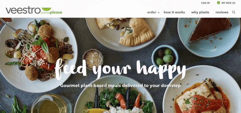 veestro website screenshot showing multiple plant-based meals and a dessert