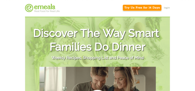 eMeals website screenshot showing the tagline 'discover the way smart families do dinner' along with an image of a couple in the kitchen.