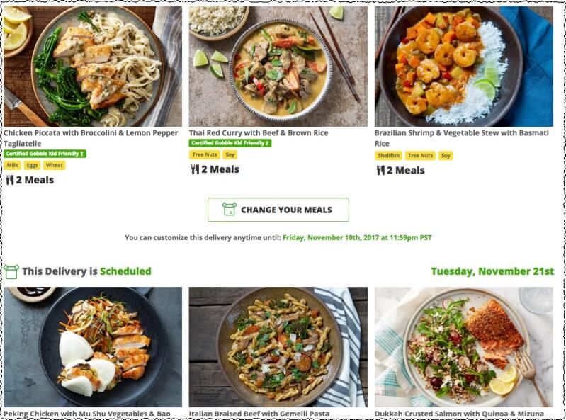gobble meal kit options showing meals from current week and the future week