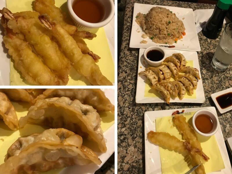 Mikasa-Sushi-appetizers-potstickers-tempura-rice