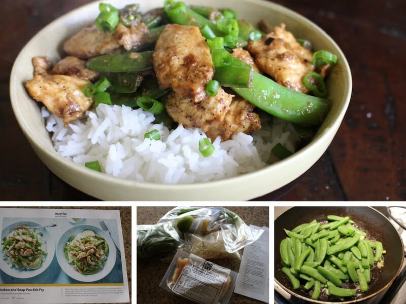 image of recipe card, ingredients, and cooking process for the miso chicken and snap pea stir fry from Martha and Marley Spoon