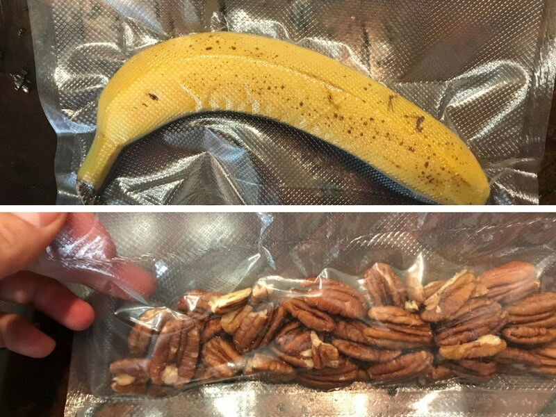 split image showing two items sealed by vacuum sealer: a banana and a bag of pecans