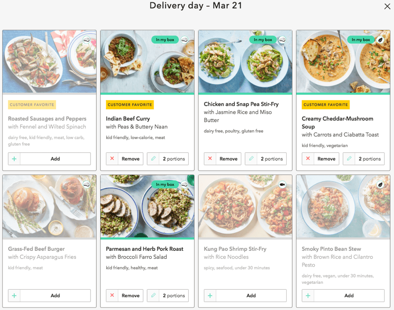 meal options for the week I ordered martha and marley spoon