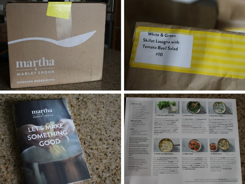 four panel image showing an unopened box, the individual bags of recipes, an introduction book to the program, and the details of the recipe card