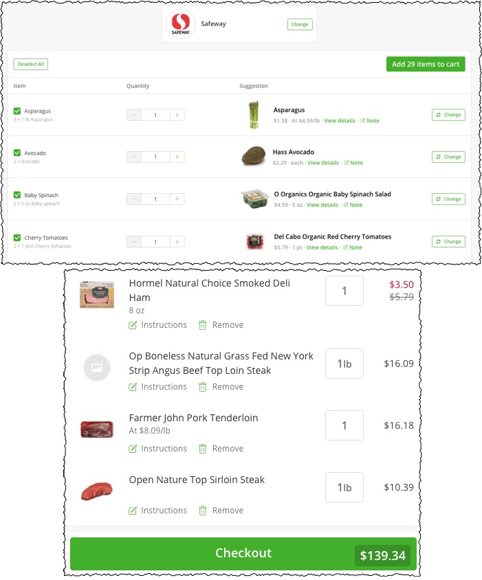 ordering food through instacart so you get the correct groceries for the meal