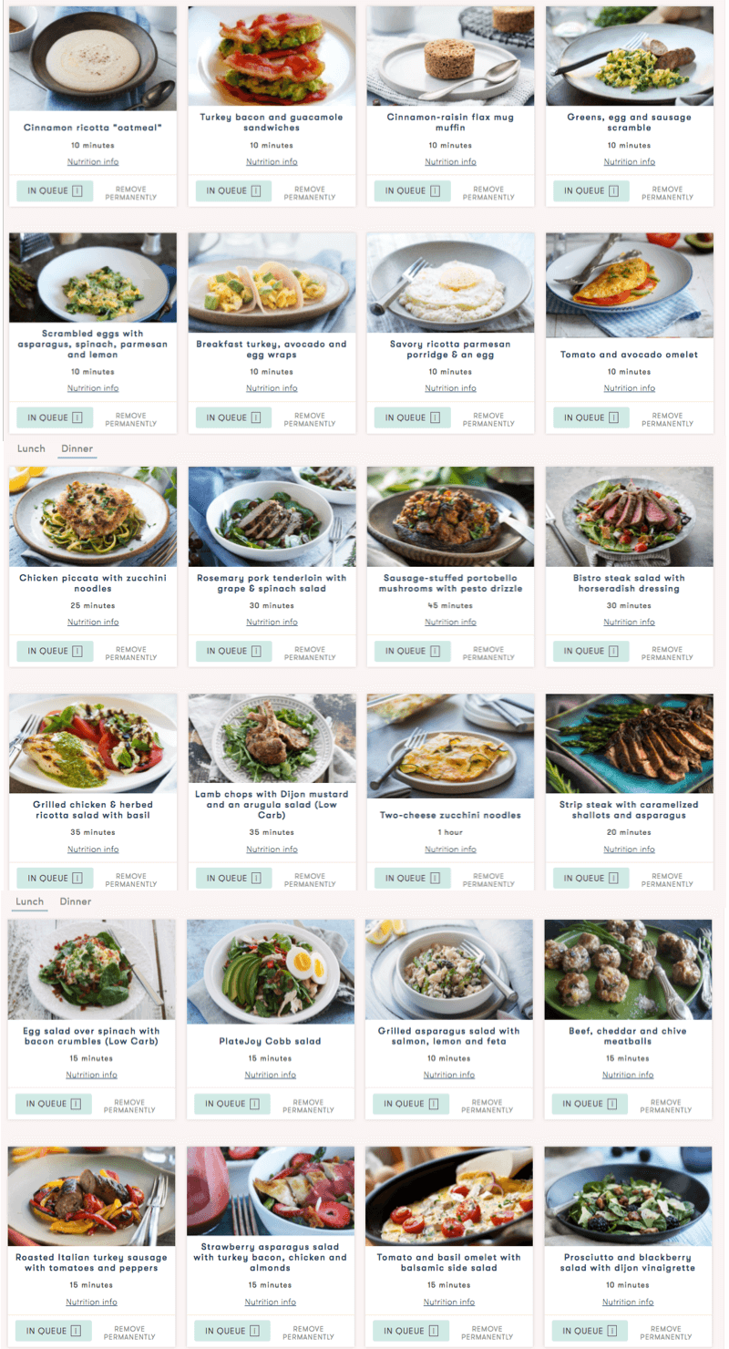 big list of meals from platejoy they all look delicious