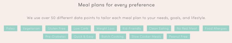 food allergen and diet specifics from platejoy