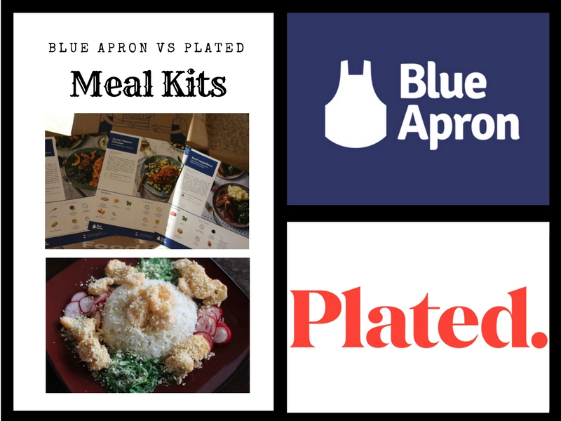 graphic comparing meal kits from blue apron and plated