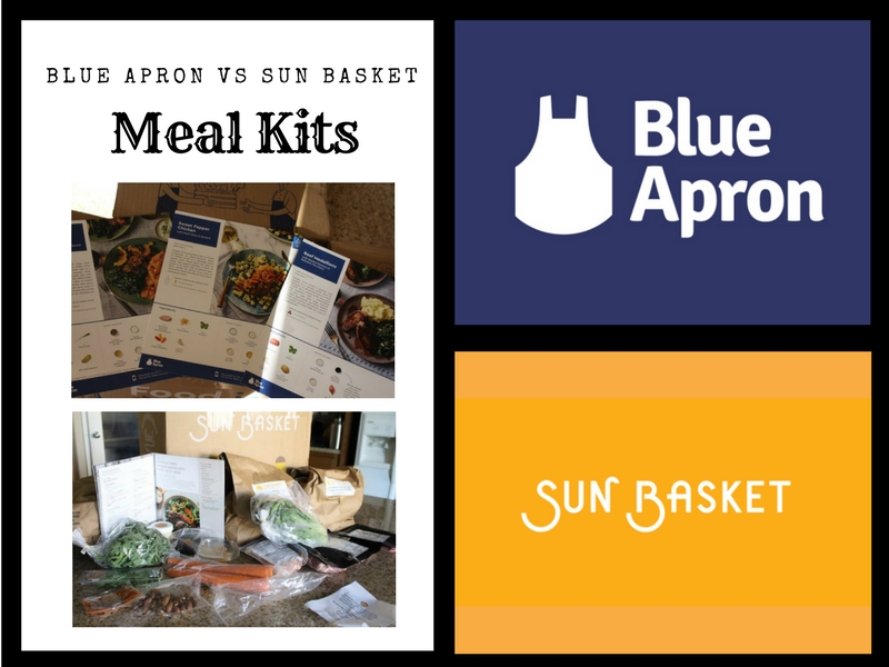 graphic showing logos and meal kit options from Blue Apron and Sun Basket