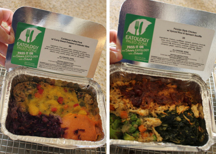 Persian style chicken and Caribbean pulled pork frozen meals from eatology