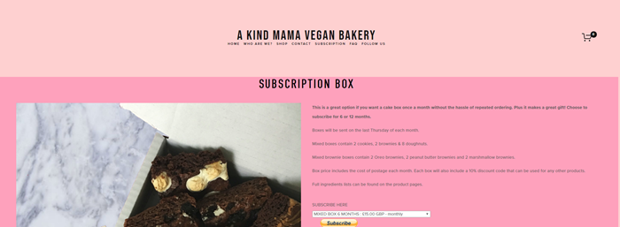 A Kind Mama Bakery website screenshot showing a two-tone pink background, with brownie photos and details about the box.
