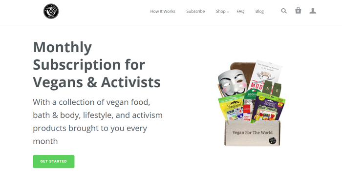 All Around Vegan website screenshot showing a box from Vegan for the World. It includes various snacks, a mask and a book.