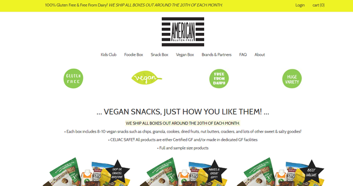 American Gluten Free Vegan Snack Box website screenshot showing a white background and various details about the snacks. There are also three identical images of the boxes.