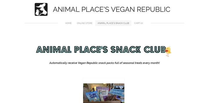 Animal Place's Snack Club website screenshot showing a small image of the box from the company, along with text that talks about the club.