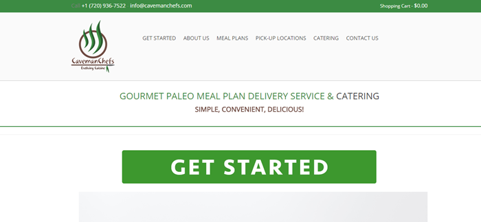 Caveman Chefs website screenshot showing green and black text, along with a large green 'Get Started' button.