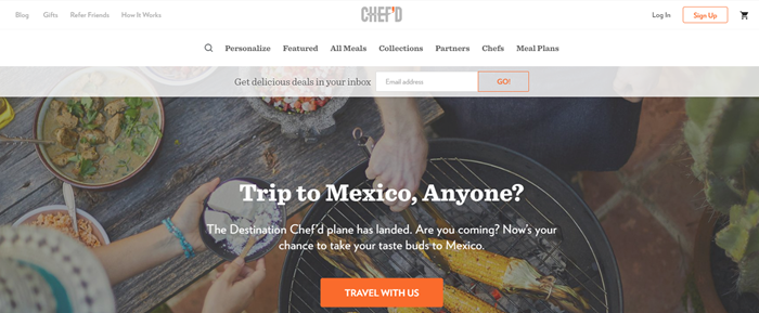 Chef'd website screenshot showing a family cooking on a grill. Food includes corn and various meals.