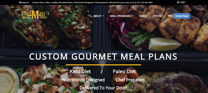 Chef Marc's Meal Prep website screenshot showing a background image of various meals, along with white text about custom gourmet meal plans.