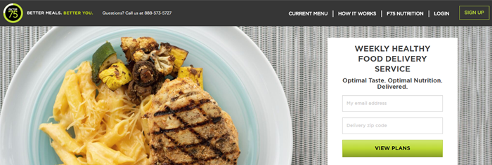 Factor 75 website screenshot showing a plate of food that includes chicken, veggies and pasta.