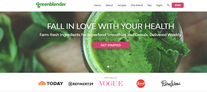 Green Blender website screenshot showing a macro shot of a glass with a green smoothie and a mint leaf.