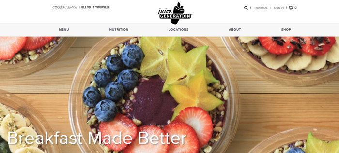 Juice Generation website screenshot showing a bowl of granola with various sliced fruits.