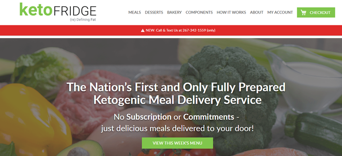 Keto Fridge website screenshot showing a background image of keto milk and white text about the delivery service.