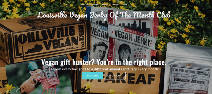Louisville Vegan Jerky of the Month Club website screenshot showing various examples of the vegan jerky and some boxes from the company.