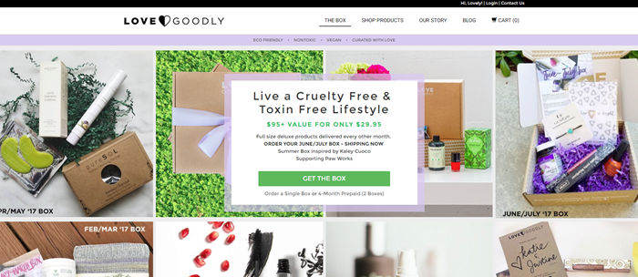 Love Goodly website screenshot showing various images of the boxes from different months.