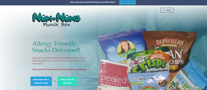 Num-Nums Munch Box website screenshot showing a closeup of various products, like SeaSnax and Peeled Snacks.