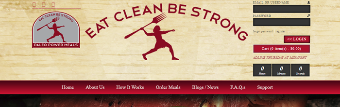 Paleo Power Meals website screenshot showing a light brown wooden background with an image of a paleo-like man holding a fork.